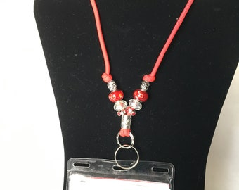 Red Beaded Lanyard, Split Ring and Metal Closed Ring Neck Cord, Medical Alert Devices Lanyard, Beaded Paracord Neck Strap, Badge Lanyard
