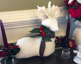 Stuffed Reindeer Table Decoration, Reindeer decor, Christmas Table Decoration, Cream Fabric Stuffed Reindeer, Holiday Mantle or Table Decor