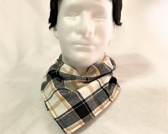 So soft White Plaid Neck Wrap, Neck Warmers, Handmade Flannel Neck Warmer, Stylish Flannel and Fleece Plaid Neck Warmers, Neck Wrap Cowl