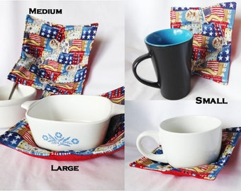 Liberty USA patriotic signs and symbols Microwaveable Bowl and Cup Hot Pads, Handmade kitchen hot pads