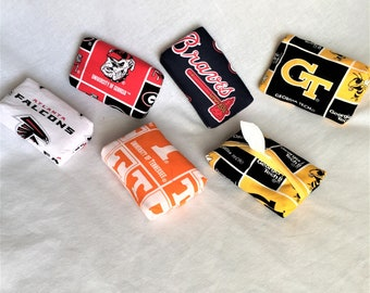 Team Personal Tissue Pouch, Cosmetic, Accessory Pouch, Purse Tissue Pouch, Fabric Tissue Holder, Braves, UGA, UT, Falcons, GA Tech