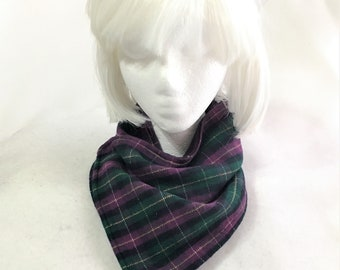 Purple Green Black Plaid Neck Wrap, Neck Warmers, Handmade Flannel Neck Wrap, Stylish Flannel and Fleece Plaid Neck Warmers, Neck Wrap Cowl