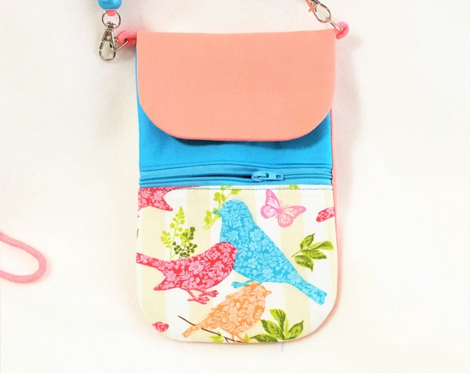 Featured listing image: Peachy Cell Phone Pouch With Turquoise, Red and Peach Birds  Cell Phone Pouch, Cross Body Zipper Cell Phone Pouch, Pocket Cell Phone Pouch