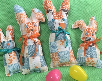 Retro Quilted Floral Stuffed Easter Bunnies, Soft Floral Fabric Back Tied Ribbon Bow, Rabbits, Vintage Bunny Decor, Chocolate Bunny Shapes