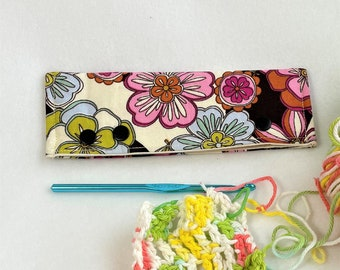 Springtime Print Project Snap in Yellow Owl Print, Circular or DPN Knitting Project Holder, Snap Needle Case, Crochet Project/Needle Holder