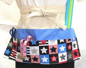 Patriotic Stars Crafters Apron, Canvas Duck and Floral Pockets, Craft Show Money Apron, Craft or Painting Adult Aprons