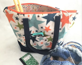 Strong Colorful Stars Canvas Bag, Zipper Canvas Tote Bag, Knit/ Crochet Project Bag, Beach Travel Tote, Shopping Carry All, Crafting Bag
