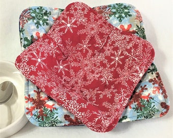 Christmas Red and White Snowflake Bowl Cozy, Holiday Microwaveable Bowl Hot Pads, Kitchen Hot Pads, Winter Snowmen Hot Cup Pads