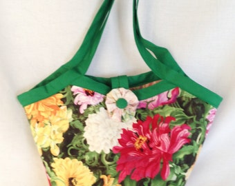 Bright Vivid Flowers and Laura Ashley Floral, Reversible Shopping, Knit or Crochet bag, Floral Shopping Tote
