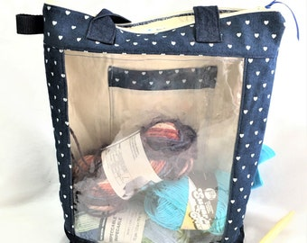 Handmade Denim Hearts Large Clear Pocket Tote, Beading Project Bag, Craft Tote , See Thru Bag, Picture or Instruction Pocket