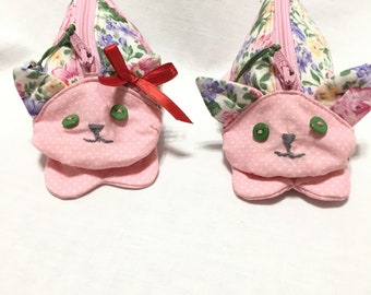 Zippy Zoo Pink Floral Kitty Shaped Small Zipper Pouch, Knitting/Crochet Project Accessory Bag, Child's Little Toys Bag