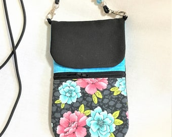 Floral Cell Phone Pouch - Teal and Black Zipper, Beaded Black Neck Para-Cord, Passport Pouch, Cell Phone Neck Holder, Cross Body Phone Pouch