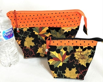 Orange Top  Band Autumn Leaves Pouch, Orange and Black Wedge Zipper pouch, Orange Yellow Green Flowers in Black, Knit Project Zipper Pouch