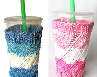 Pink White and Blue White Knit Cold Drink Cozy, Large Cup Cozy, Water Bottle Cozy, Smoothie Cozy, NutriBullet Cozy, Frosty Drink cup cozy