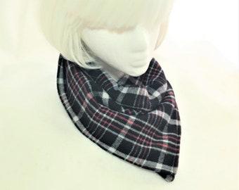 Scarf Wrap Black Red Plaid, Soft Warm Gator, Handmade Flannel Neck Cowl, Fashion Flannel Fleece Plaid Neck Warmers, Mand Women Neck Gator