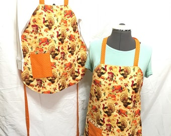 Everyday Reversible Aprons, Adult and Child, Orange and Holiday Turkeys aprons, Cooking aprons, Kitchenware, Housewares, Holiday cooking