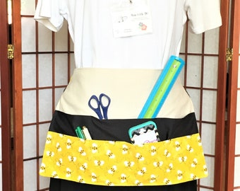 Bumble Bee Big Pocket Apron, Teachers, Festival Vendor Money Apron, Craft or Painting Adult Aprons,Gardening Canvas Duck Back
