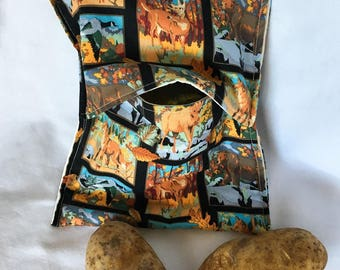 Easy Microwave Cooking, Forest Animals Print Potato Bags, Large Potato Cooking Bag, Kitchen Linens, Corn Cobb Cooking, Warm Bread, Tortilla