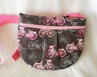 Bicycle Pink and Gray Waist Pouch, Grey Pink Hip Pouch, Cross Body Pouch, Cell Phone Pouch,, Zipper Waist Pouch, Fanny Pack