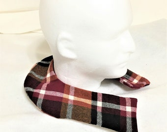 Curved Shape Carmel Brown Plaid Aromatic Neck Washable Warmers, Therapeutic Neck Warmer, Removable Sleeve, Scented Pain Relief Warmomg Pack