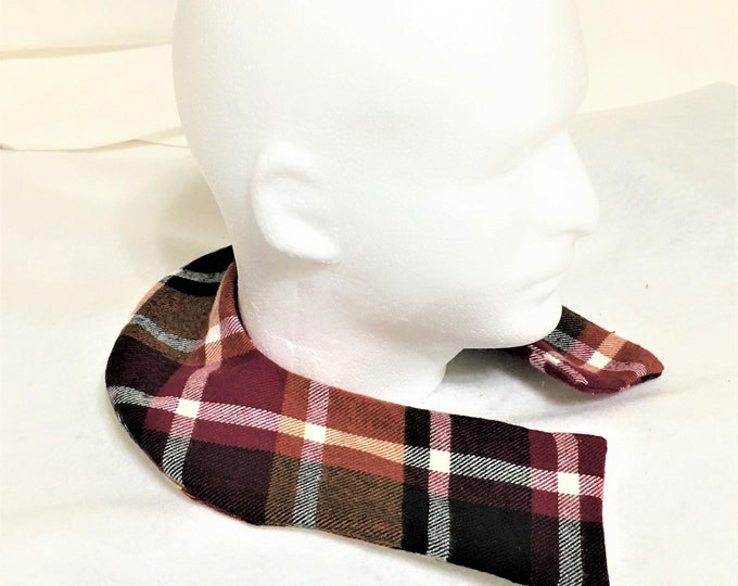 Featured listing image: Curved Shape Carmel Brown Plaid Aromatic Neck Washable Warmers, Therapeutic Neck Warmer, Removable Sleeve, Scented Pain Relief Warmomg Pack