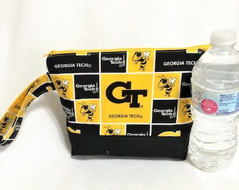 College Football Pouches, Opens Wide GA Tech Team Cosmetic, Georgia Tech Accessory Pouch, GT Team Wedge pouch, Team spirit zipper pouch