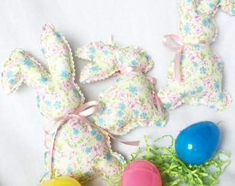 Yellow and Pink Floral Stuffed Easter Bunnies, Soft Floral Fabric and Ribbons Rabbits, Vintage Bunny Decor