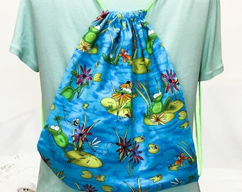 Frogs on Lily Pad Drawstring, Over the Shoulder or Child's Back Pack, Knit or Crochet Project Bag