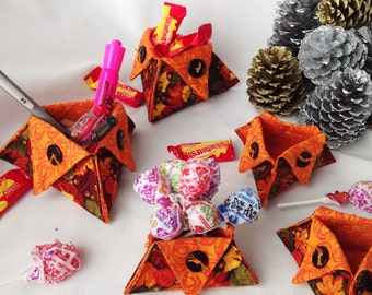 Holiday Fabric Autumn Organizer Triangle Cups, Desk Accessory Holder, Candy Holder, Pen and Pencil Holder