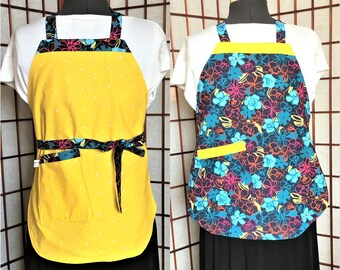 Yellow and Dark Teal Floral Reversible Child Full Apron, Colorful Floral Child Cooking Apron, Craft Painting Child Aprons, Baking, Kitchen