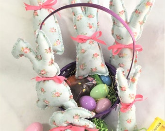 New Sweet Little Stuffed Bunnies, Soft Cotton Fabric and Ribbons Rabbits, Cute Vintage Bunny, Easter Basket Toy, Baby Decor Bunny, Child Toy