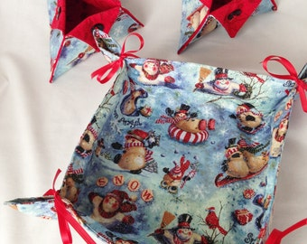 Holiday Fabric Trays, Christmas Food or Organizer Trays, Desk Accessory Holder, Candy Holder, Pen and Pencil Holder