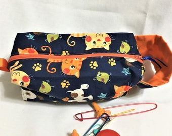 Cats and Dogs Navy and Orange Box Bag, Knitting/Crochet Project Box Bag,, Cosmetic or Toiletry Bag, Child's Toy Bag. Travel Electronics Bag