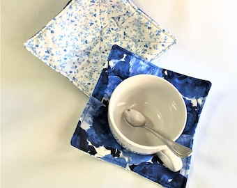 Handmade Blue Floral Microwaveable Bowl and Hot Pads, Handmade quilted kitchen hot pads, Chili and Stew Bowl Hot Pad, Microwave cooking pads