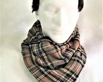 Warm Brown Black Plaid Flannel Neck Wrap, Warm Gator, Handmade Flannel Neck Warmer, Fashion Flannel Fleece Plaid Neck Warmers, Neck Cowl