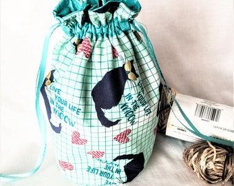 Cool Cats Teal Drawstring Bag, Teal Cat's Meow Medium Bag, Knitting/Crochet Project Bag, Travel Pouch, Child's Little Toys Bag