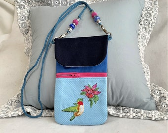Pretty Hummingbird Embroidered Phone Pouch, Cell Phone Pouch, Lovely Gift Cross Body Zipper Cell Phone Purse, Hummingbird Pocket Phone Pouch