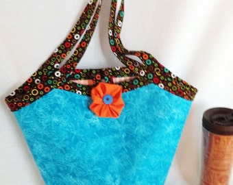 Brilliant Blue Dragonfly Fabric and Orange-Brown Trim, Reversible Shopping, Knit or Crochet bag, Floral Shopping Tote