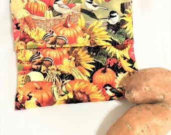 Harvest Pumpkins and Flowers Quilted Potato Bags, Large Microwaveable Potato Cooking Bags, Corn Cobb Cooking, Gold Print Potato Bag