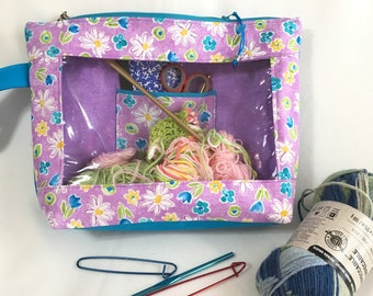 Purple and Teal Floral Medium See-Thru Project Bag, Knitting/Crochet Window,  Travel, Cosmetic, Toiletry Bag, Clear Window Pouch, Toy Pouch