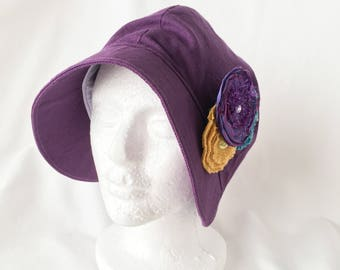 Retro Cloche Hat with Flower Pin, Vintage Style Cloche, Handmade cloth hat