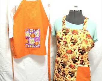 Thanksgiving Reversible Aprons, Adult and Child Orange with Turkeys aprons, Cooking aprons, Kitchenware, Housewares, Holiday cooking