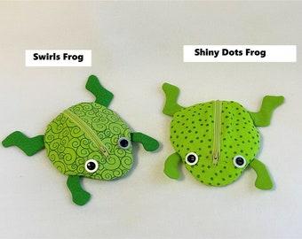 Jumping Green Frog Zippy Zoo Pouches, Fun Child Zipper Pouch, Unique Knitting/Crochet Accessory pouch, Swirls or Shiny Dots Frog Zipper Bag