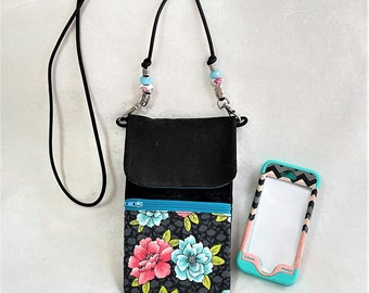 Lovely Teal Floral Cell Phone Pouch, Practical Floral Purse With Black Neck Cord, Zipper Pouch, Card Holder, Cross Body Cell Phone Pouch