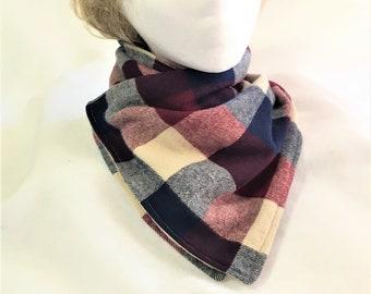 Navy Burgundy Plaid Neck Wrap, Neck Warmers, Handmade Flannel Neck Warmer, Stylish Flannel and Fleece Plaid Neck Warmers, Neck Wrap Cowl