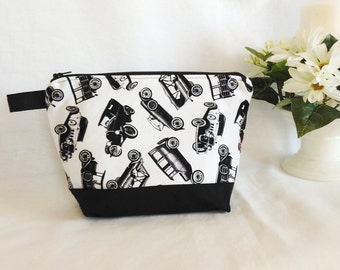 Vintage Cars Fabric Pouch, Travel/Cosmetic or Toiletry Bag, Black and White Wedge Pouch