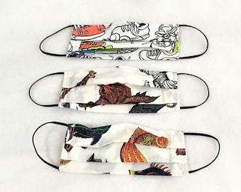 Child Face Masks, Sneakers, Jungle Animals, Tropical Fish Pleated Masks, nose wire fitting, reusable face mask, filter pocket, 2-ply cotton