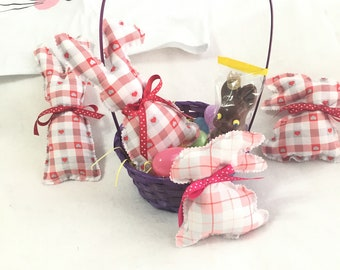 Sweet Little Stuffed Bunnies, Soft Red Hearts and Plaid Fabric and Ribbons Rabbits, Cute Vintage Bunny, Easter Basket Toy, Baby Decor Bunny