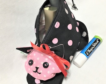 Black and Pink Spotted Kitty Shaped Zipper Pouch, Knitting/Crochet Project Accessory Bag, Small Cosmetics Pouch, Fabric Zipper Pouch, Toys