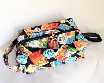 Fun Men's Dopp Bag, Route 66 Nostalgic Box Bag, Knitting/Crochet Box Bag, Travel Bag, Cosmetic or Toiletry Bag, Child's Little Toys Bag